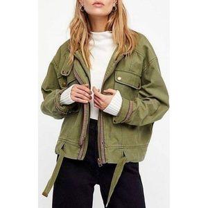 Free People Olive Green Flight Line Bomber Jacket